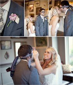 First Look ideas - blindfold the groom for a playful first look wedding photo