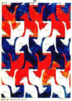 Escher tessellation royal blue, bright orange, and white