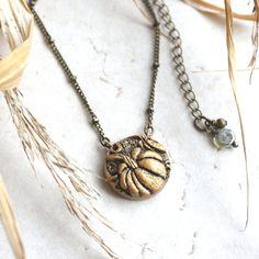 Pumpkin Necklace Gold Pumpkin Charm Necklace by GwydionsGarden
