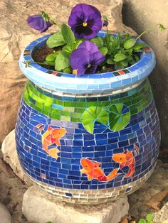 Planter covered with glass mosaic by Ayelet Bar