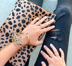 leopard clare vivier clutch// love the bangles//