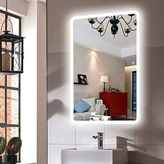 Dimmable LED Backlit Mirror Anti-fog Illuminated Vanity Mirror Bathroom Mirror with Touch Button Backlit Mirror, Bathroom Mirror Lights, Lighted Vanity Mirror, Wall Mounted Mirror, Mirror Door, Mirror With Lights, Bathroom Wall, Cool Walls