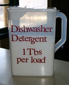 Dishwasher Detergent ingredients: 1 box Borax 1 box Arm & Hammer Super Washing Soda 24 packages of unsweetened lemonade drink mix, like kool-aid. (**Note: lemonade will stain soap dispenser yellow, another option would be to use citric acid instead of lemonade) 3 cups Epsom Salt = $13