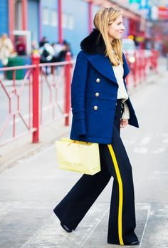 Embrace the military influence and add on a fur-trimmed peacoat like Marina Larroude