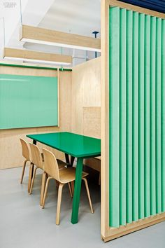 Masquespacio paired Studio Tolvanen chairs with a custom painted plywood table in a classroom at the Academia Altimira in Cerdanyola del Valles, Spain. Photography by David Rodriguez y Carlos Huecos/Cualiti.:
