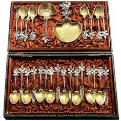 For Sale on 1stDibs - This beautiful strawberry serving set is composed of one large serving large flat hand, one sugar spoon, 12 forks with 12 assorted spoons, on the top of Famous Artwork, Strawberry Fruit, Sugar Spoon, Second Empire, Forks, Spoons, Antique Silver, The Incredibles, French