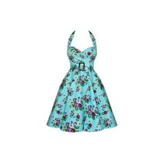 Hell Bunny May Day 50's Dress Floral Blue/Turquoise ❤ liked on Polyvore