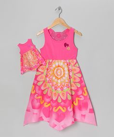 Pink Psychedelic Petal Dress & Doll Outfit - Girls
