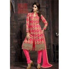 Designer Glossy Pink Embroidered Churidar Salwaar Kameez-05( OFB-11 )Karishma