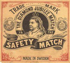 Matchbook cover, Queen Victoria, Sweden