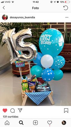 Birthday Gift Baskets, Birthday Gifts, Happy Birthday, Balloons And More, Balloon Gift, Chocolate Bouquet, Candy Bouquet, Ideas Para Fiestas, Diy Hair Bows