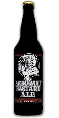 Arrogant bastard ale // This is an aggressive ale. You probably won't like it. It is quite doubtful that you have the taste or sophistication to be able to appreciate an ale of this quality and depth.