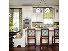 Not the same layout but want the dining room & kitchen to flow a bit better than they do with the current layout in the new place. Like the color/pattern detail on the back of the stools - adds to design when looking into the kitchen from dining area. #Kitchen #Pattern #ColorCombo
