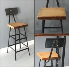 Barstool, Chair, Seating, Industrial Barstool, Steel and Wood, Reclaimed Wood Barstool, Rustic Furniture, Industrial Furniture, Furniture Store.    This