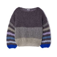 The color-gradient neckline on this crème-colored plush pullover is especially unexpected; meanwhile, the hand-knit mohair-blend makes it softer than. Knitting Designs, Crochet Designs, Knitting Projects, Pink Lady, Crochet Blouse, Knit Crochet, Baby Cardigan, Drops Design, Colour Blocking Fashion