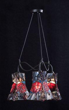 POTRÓJNA WISZĄCA LAMPA  ''BAROK'' w Ni'Finn Handmade na DaWanda.com