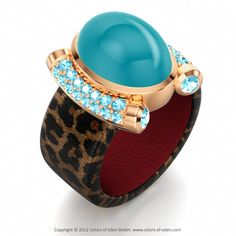 Leather Ring PREMIERE with Cabochons and Blue Zircons #blue