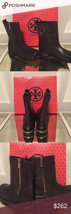 ❤️Tory Burch size7 leather boot. FINAL MARKDOWN ❤️ Tory Burch size 7 chocolate brown leather low boot. Slightly distressed look. Side gold zipper with Tory Burch monogram and gold name plate on the heel. Very comfortable. The mark on the sole is where price tag had been removed. I will send more pictures if needed. Please ask all questions before you buy. Tory Burch Shoes Combat & Moto Boots