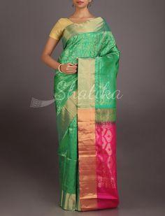 Karuna Full Ornate Zari Work With Contrast Pallu #Uppada #WeddingSilkSaree