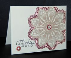Large DOILY Thinking of YOU card stampin up handmade. $3.40