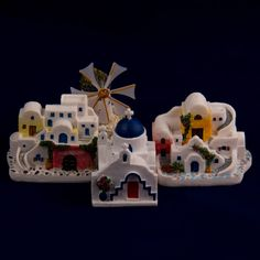 Collectible Miniature House: Greece. Set of Four Miniature Greek Houses