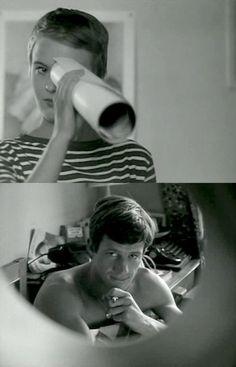 """Jean-Paul Belmondo, Jean Seberg in """"À bout de souffle"""" (1960). Director: Jean-Luc Godard. Si vous n'aimez pas la mer.. si vous n'aimez pas la montagne... si vous n'aimez pas la ville : allez vous faire foutre."""