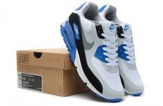 best sneakers 62ac1 0bae3 Nike Pzef Air Max 90 Herren Grau Weiß RoyalBlau Schwarz Weiß Mesh Laufschuhe