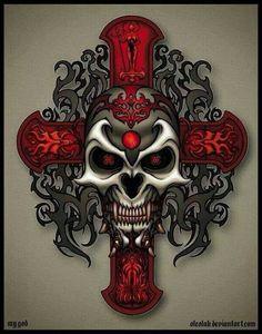 Skull n Red Celtic Cross Totenkopf Tattoos, Skull Pictures, Gothic Pictures, Skull Artwork, Skull Drawings, Skeleton Art, Skull Wallpaper, Geniale Tattoos, Sugar Skull Art