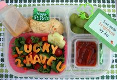 """""""Lucky To Have You"""" St. Patrick's Day bento lunch in #EasyLunchBoxes @Lunchbox Love from Say Please"""