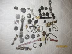 44 Vintage Watch Parts Over 1 lb.  Bulova Citizen Gemex Sterling Silver Berkeley #various