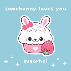 Aw, fluffy bunny cupcake loves sweet strawberry.