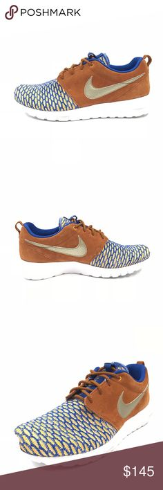 Nike Roshe Flyknit Tawny PRM Premium Trainer Shoes Nike Mens Roshe Flyknit Tawny PRM Premium Game Royal Metallic Sz 8.5 746825-402  New without box and unworn. Perfect condition.  Size - 8.5 US / 7.5 UK / 42 EU Color - Game / Royal / Metallic Material - Synthetic Style - Running, Cross Training Product Line - Flyknit  Original box not included. Nike Shoes Athletic Shoes