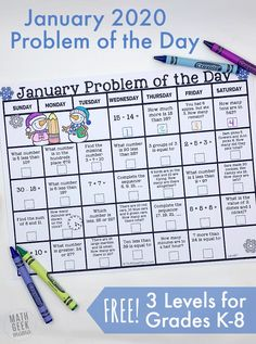FREE January 2020 Problem of the Day Calendars Math Skills, Math Lessons, Teaching Tips, Teaching Math, Math Vocabulary Words, School Calendar, Blank Calendar, Calendar Printable, Calendar 2020