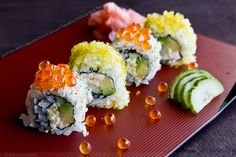 California Roll with Shredded Crab and Avocado Topped with Tobiko and Ikura Roe