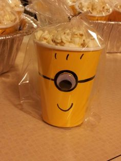 Final result minion treat.  Individually wrapped for each child in the class.  These turned out too cute!
