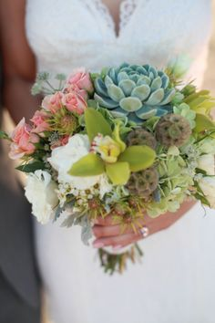 succulent wedding bouquet, image by Deborah Huber Photography