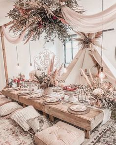 Party table decorations – Summer table decorations – Table decorations – Indoor picnic – Boho p – Party Decorations 2020 Summer Table Decorations, Wedding Decorations, Boho Wedding, Wedding Table, Wedding Dinner, Wedding Reception, Wedding Ideas, Bohemian Bedroom Design, Deco Champetre