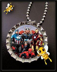 Superheros Spiderman Iron Man Thor Captain AMerica - Bottle Cap Necklace - Birthday Party Favors
