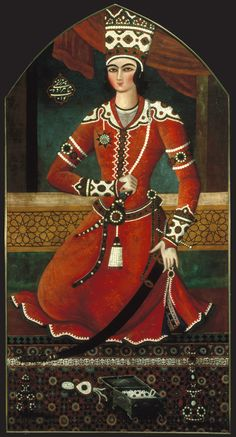 Attributed to Muhammad Hasan (Persian, active 1808–1840). Prince Yahya, circa 1835–36. Oil on canvas, 67 x 35 in. (170.2 x 88.9 cm). Brooklyn Museum, Gift of Mr. and Mrs. Charles K. Wilkinson, 72.26.5