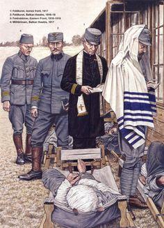 IMPERO AUSTRO-UNGARICO - 1 Feldkurat, Fronte dell'Isonzo 1917 - 2 Feldkurat, Teatro dei Balcani, 1916-17 - 3 Feldrabbiner, Fronte Est, 1916 - 4 Militaerimam, Balcani 1917.