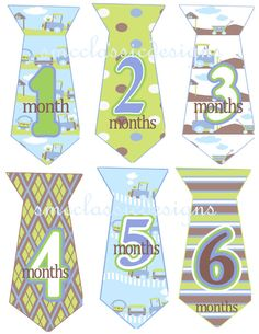Stickers to put on baby boy onesie for each birthday month.
