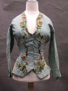 1880s hand-embroidered wool challis dress top.  Via Shippensburg University Fashion Archives and Museum (SUFAM).