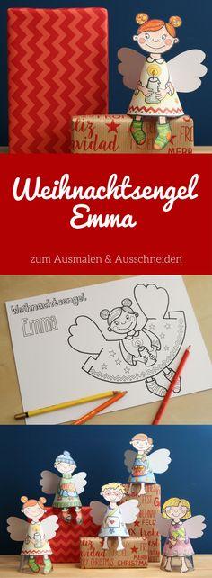 Basteln mit Kindern in der Weihnachtszeit: Fünf Engel aus Papier zum Ausmalen und Ausschneiden als PDF #Weihnachtsengel