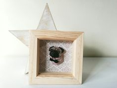 Hand cast and hand-painted pug in shadow box frame www.vivilake.com