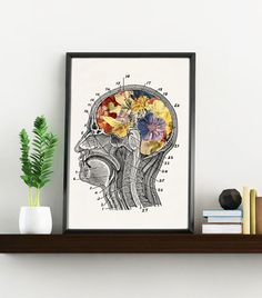 Flowery Brain- Doctors gift art Print- A4 Wall art. Human anatomy print- Chic Science prints wall art, Human brain and flowers art WSK090
