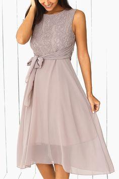 $17.68 Sleeveless Lace Splicing Dress