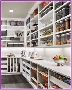 Mind-blowing Kitchen Pantry Design Ideas for Your Inspiration Optimize your larger pantry with a specialized backup system. Directory shelves are great for stocking cooking sheets. Changeable cable shelving is normally a lower priced solution for cust Kitchen Pantry Design, Kitchen Organization Pantry, Kitchen Pantry Cabinets, Kitchen Tops, Diy Kitchen, Kitchen Decor, Organized Pantry, Awesome Kitchen, Kitchen Ideas