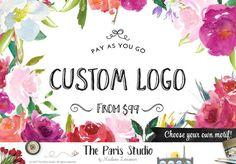 Watercolor Floral Logo: Pay As You Go Custom Logo Design