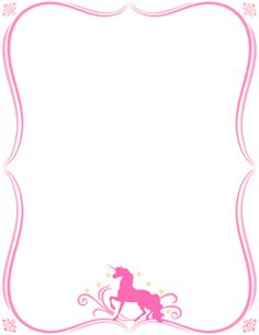 Free unicorn border templates including printable border paper and clip art versions. File formats include GIF, JPG, PDF, and PNG. Unicorn Stationary, Unicorn Party Invites, Unicorn Birthday Parties, Girl Birthday, Stationary Printable, Happy Birthday, Pyjamas Party, Unicorn Backgrounds, Unicorn Printables