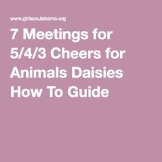 7 Meetings for 5/4/3 Cheers for Animals Daisies How To Guide